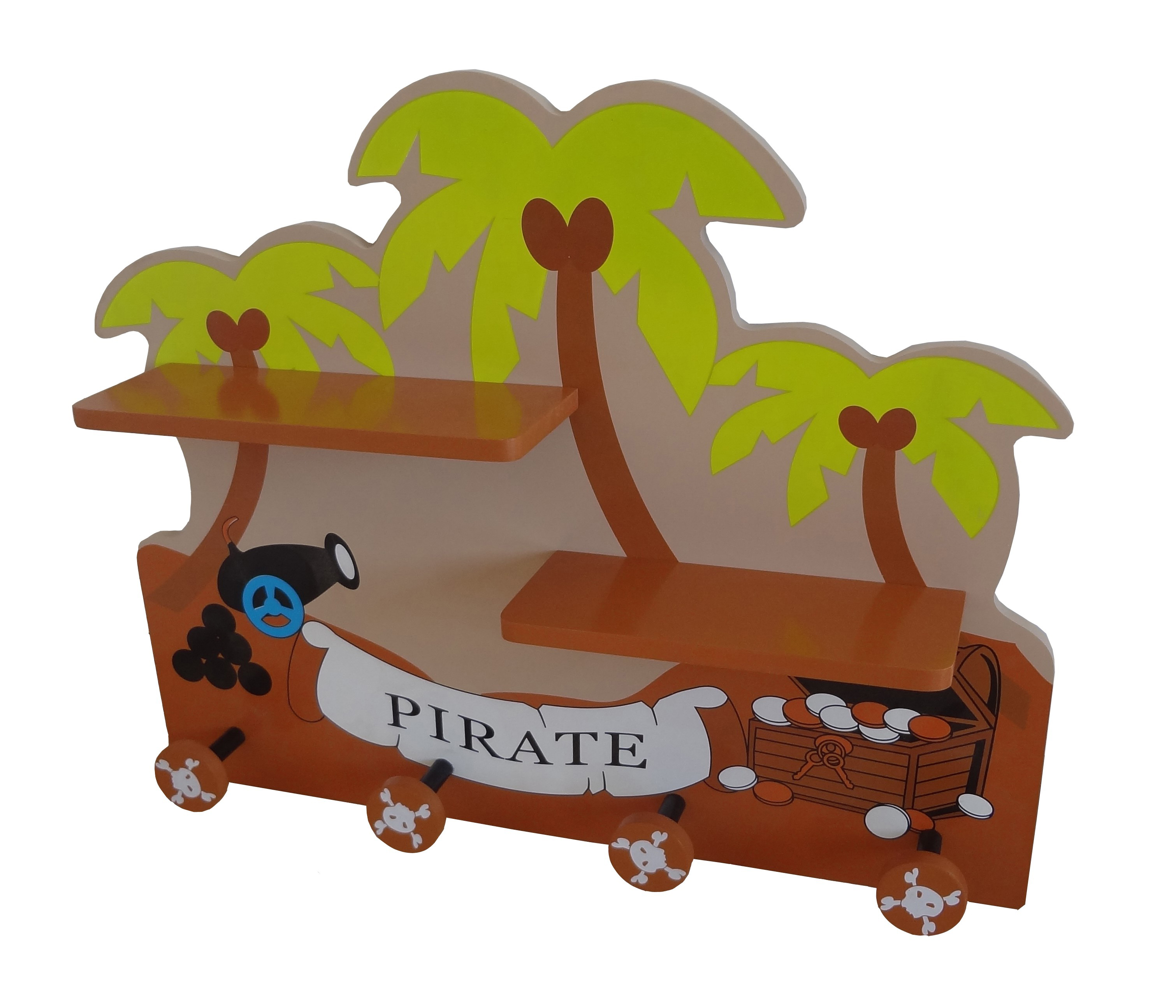 Bebe Style Children's Wooden Pirate Wall Mounted Shelf and Coat Hanger-0