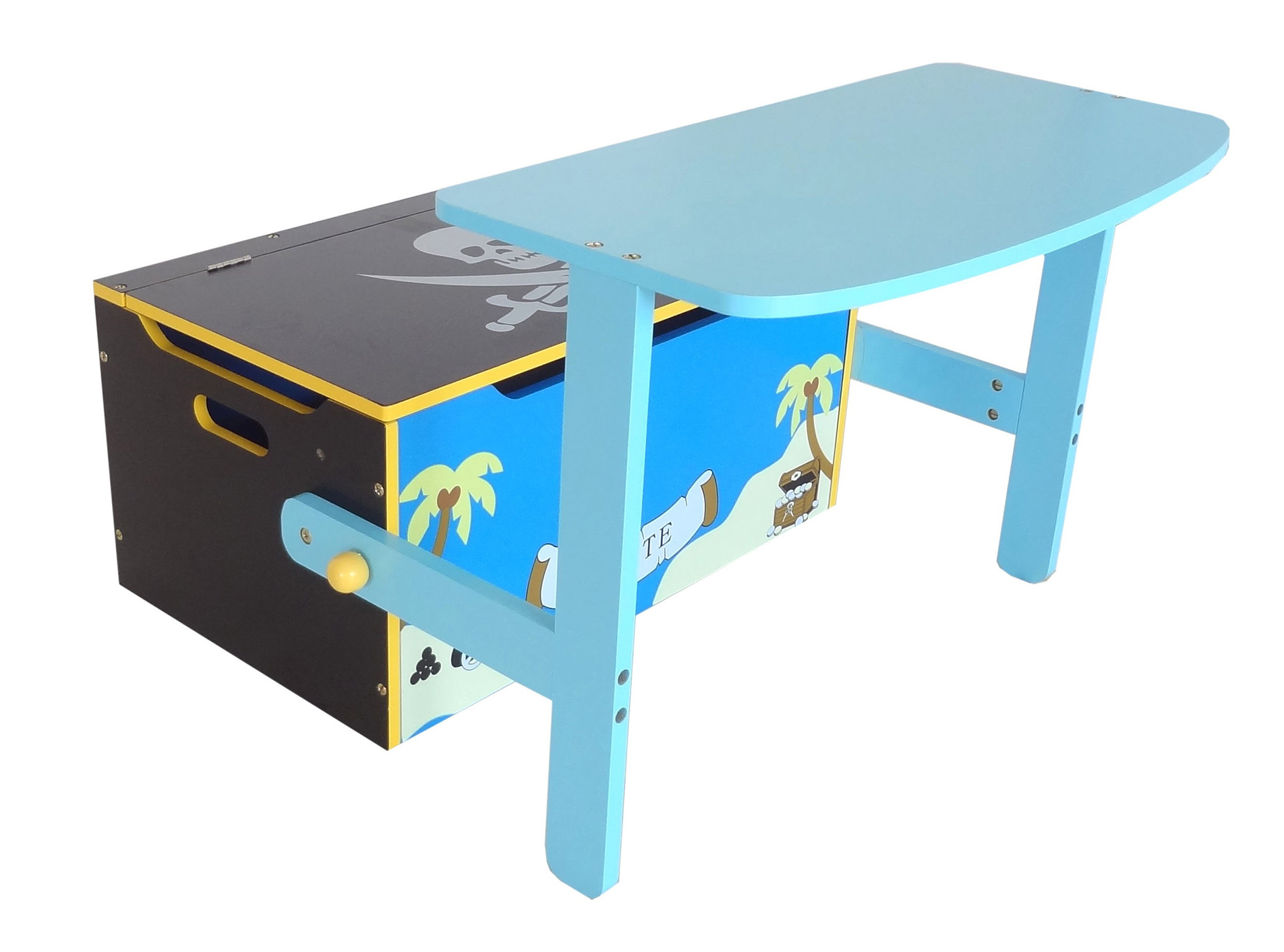 Kiddi Style Convertible Toy Box Bench Table Chair Blue Kiddy Products