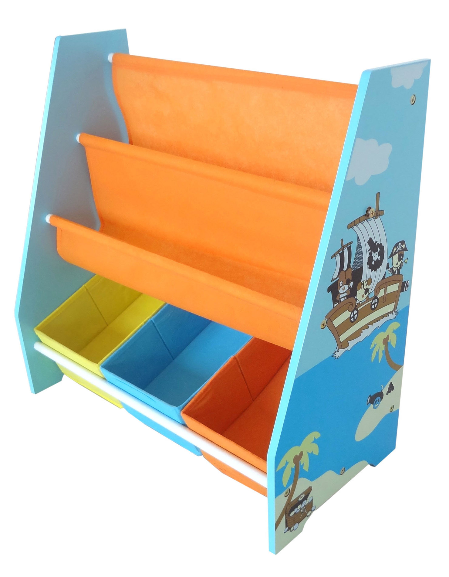 Kiddi Style Pirate Themed Sling Bookshelf And Storage Blue Kiddy Products