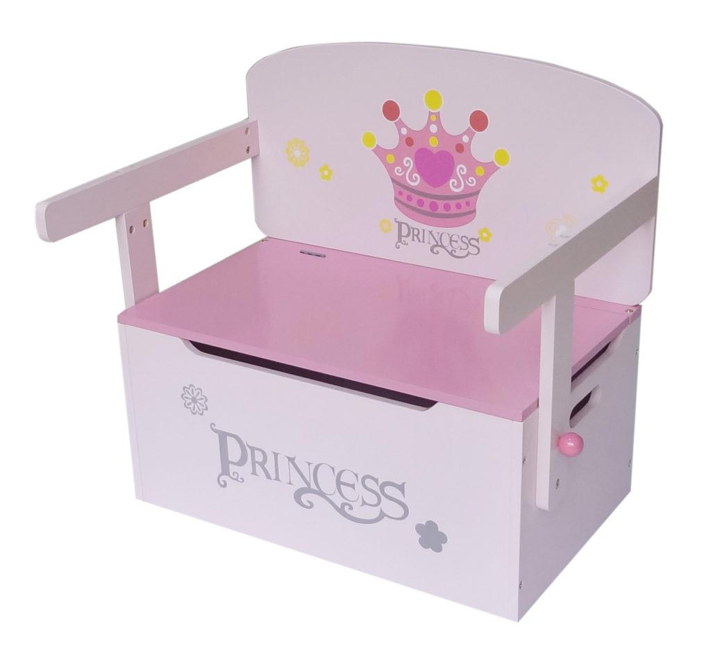 Kiddi Style Princess Themed Convertible Toy Box Bench