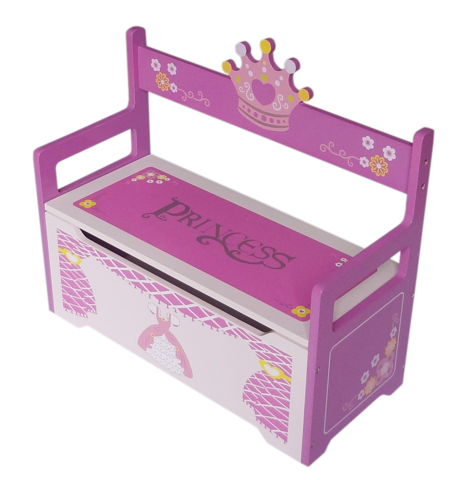 Childrens Jumbo Bedroom Room Tidy Toy Storage Chest Box Trunk: Kiddi Style Princess Themed Childrens Toy Box & Bench