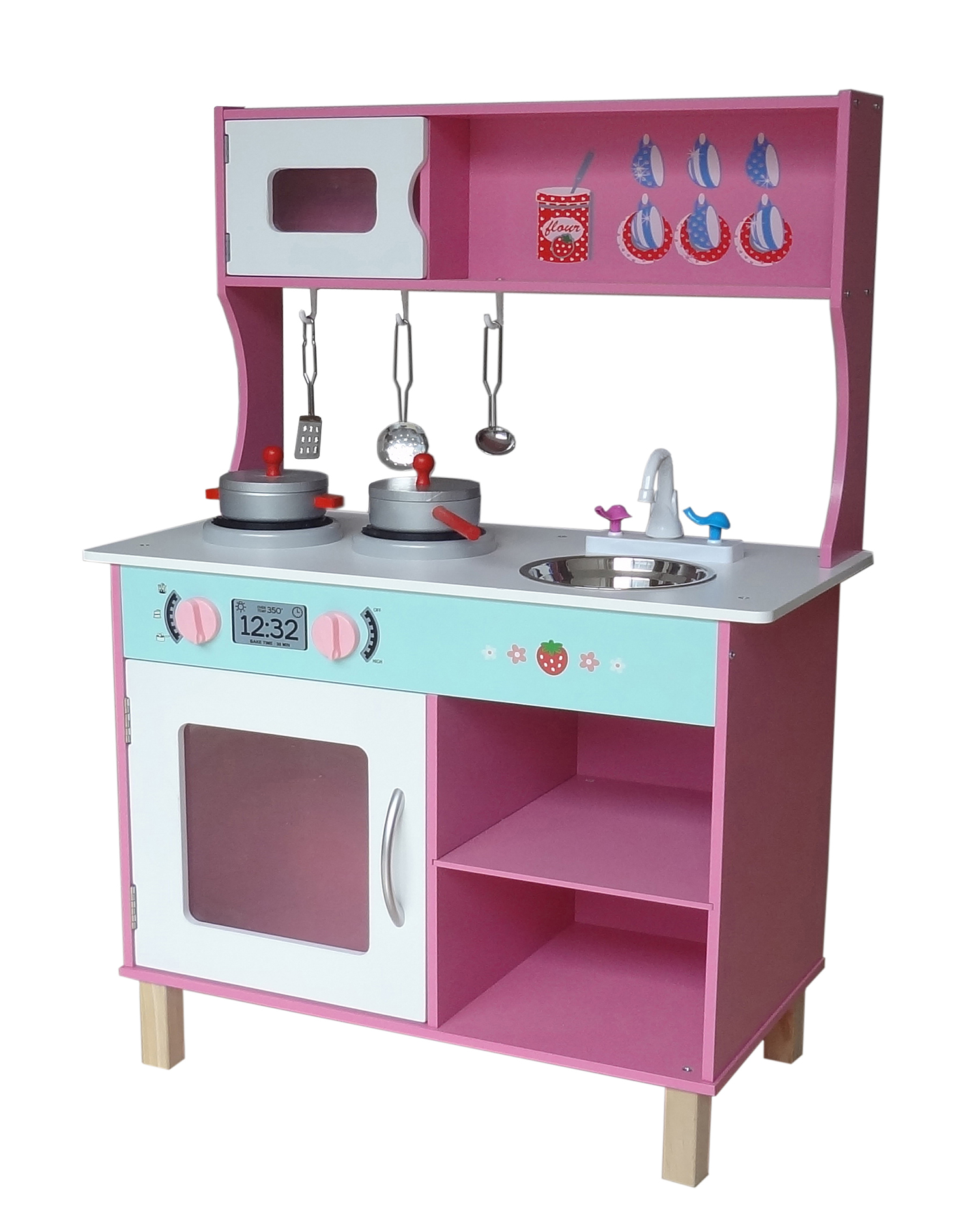 Wood Kitchen Equipment : Kiddi style large modern wooden kitchen pink kiddy